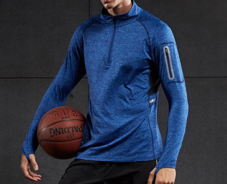 blue-Men's Compression workout training tops plus size xxl