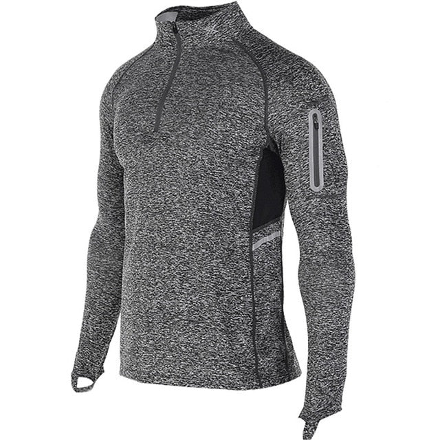 grey-Men's Compression workout training tops plus size xxl