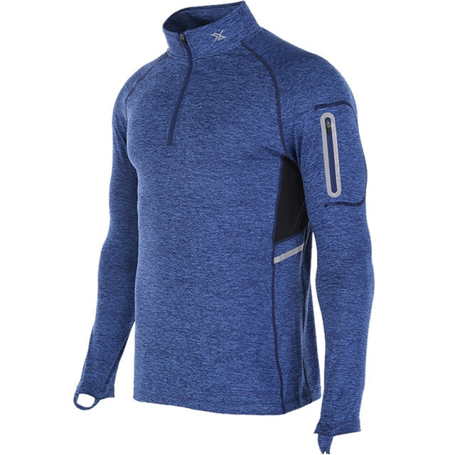 blue2-Men's Compression workout training tops plus size xxl