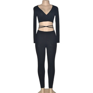 black-women's Deep V Long Sleeve CropTops+pants set