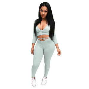 Gray-women's Deep V Long Sleeve CropTops+pants set