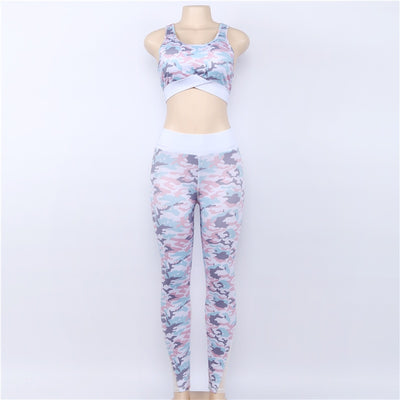 Camouflage Mesh Fitness Sport Women's Yoga Clothing Suits