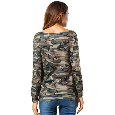 Women's Camouflage Fashion Bandage T-shirts