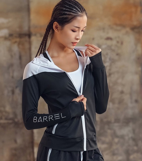 Women Tops #sportswear Long Sleeve Hooded #yoga Zipper #sweatshirts - workoutleggingspocket #activewear #gym #workout #training #tennis #running #sports #athleisure #jogging