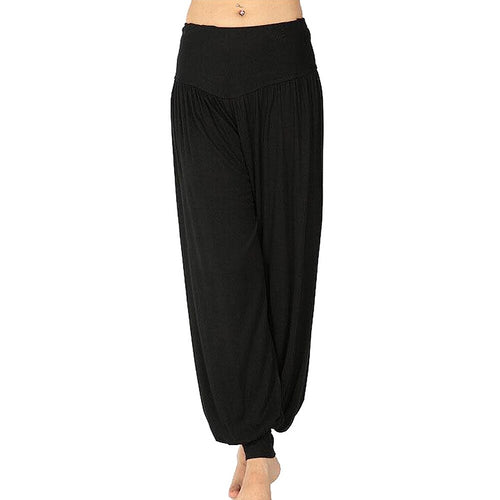 Women Modal Elastic Waist Loose Black Yoga Flare Long Trousers