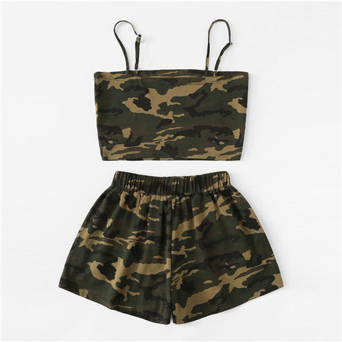 Women's camo comfy shorts Army Green Sleeveless Casual Two Piece Set