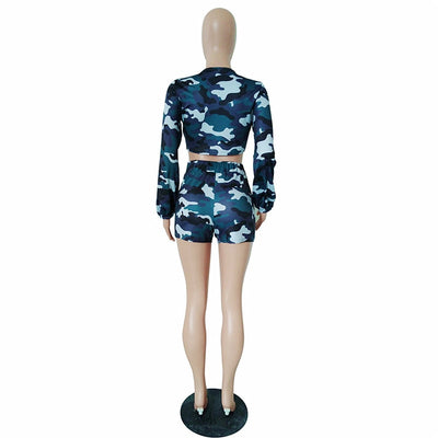 Camo compression shorts women's long sleeve front tie crop top and shorts sets