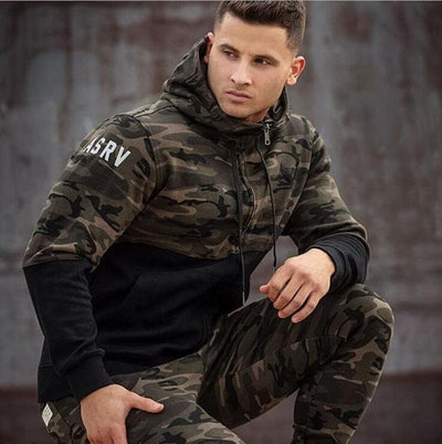 Men's camo-print hooded full-zip training jacket