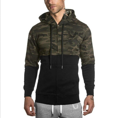 a-Men's camo-print hooded full-zip training jacket