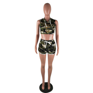 Belted camo shorts + women's sleeveless hooded crop top set