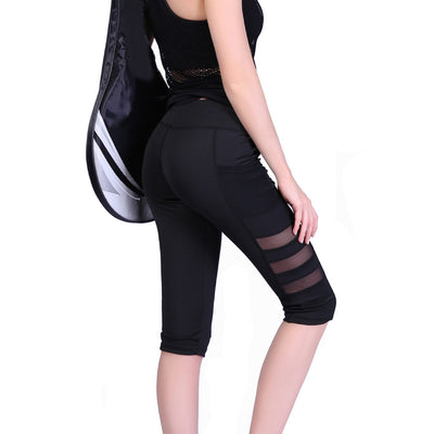 Women Capri High Waist Black Yoga Leggings With Pocket