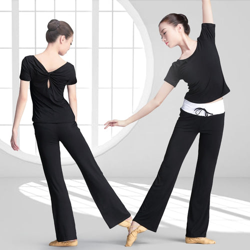 Girls Black Yoga Set Dance Flare Pants With Elastic Band