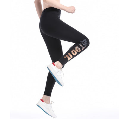Gold Printed Elastic Waist Stretch Women Leggings