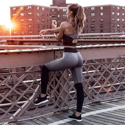 Padded Gym Slim Running Leggings+Tops Set For Women Yoga Set