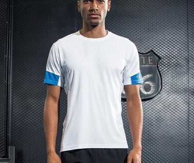 0-Men's reflective bodybuilding fitness white t-shirts