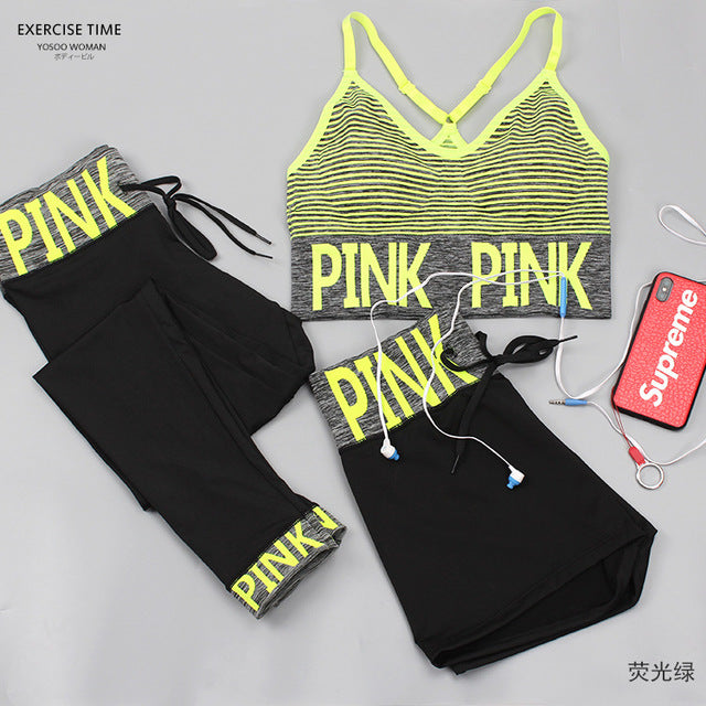 Pink Letter Sport Wear Women Fitness Sport Bra+Yoga Pants+Shorts Sport Set Workout Gym Clothing