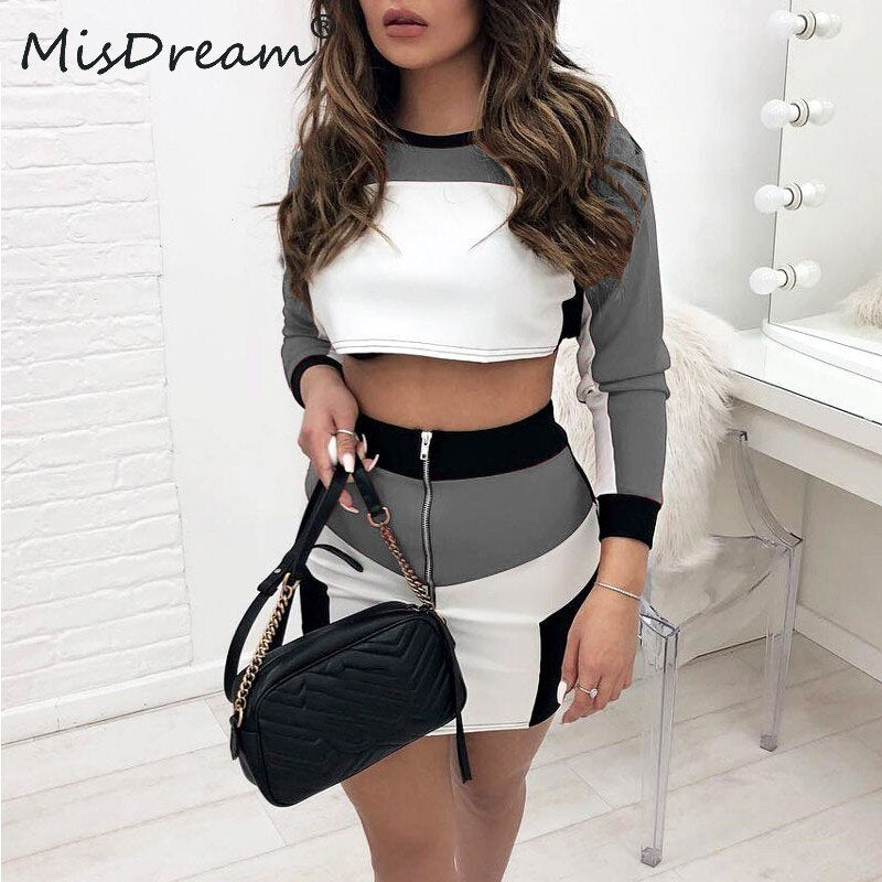 O Neck Long Sleeve Two Piece Set