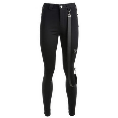 Women Sweetown Autumn Push Up Black Leggings