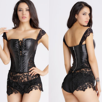 Red black mature women Leather  Corset