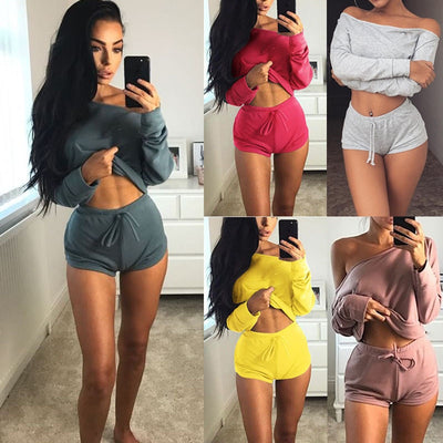 Women Tracksuit Cotton Blend Cropped Tops Shorts Set
