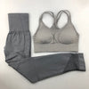 Seamless Padded Push-up Strappy Sports Bra 2 Pcs Women Fitness Yoga Set
