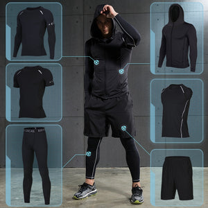 Men's 5 pcs black running shorts set