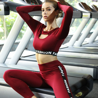 2019 Letter Fashion Stripe printed Women Workout suit