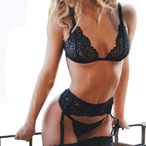 3pcs Set Women Transparent Bra Set + Garter Black Sexy Lingerie