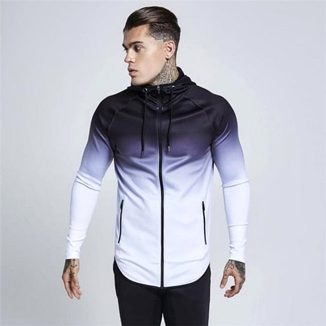 Men's hooded full-zip jogging sweatshirt jacket-1n