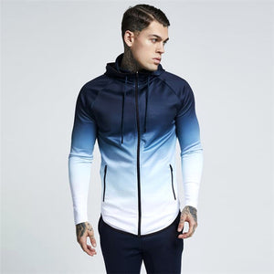 Men's hooded full-zip jogging sweatshirt jacket-c