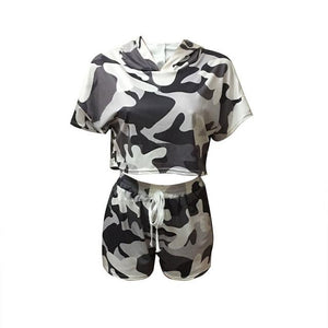 khaki camo shorts women's and Hooded Top set