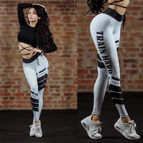 Casual Female Striped Digital Printing White Leggings