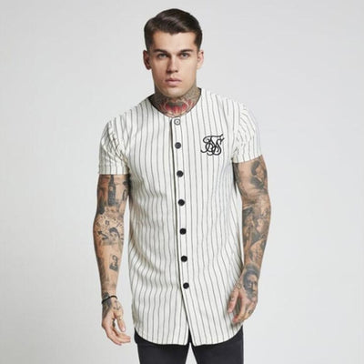 front-Men 's Sik Silk Embroidered Baseball Jersey Striped Shirt