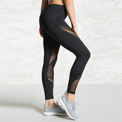 Women Elastic Capri Mesh Patchwork Black Yoga Pants