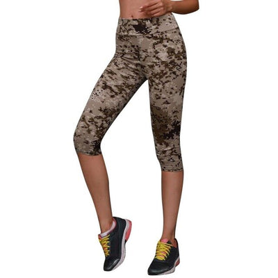 Women High Waist Printed Stretch Cropped Athletic Pants