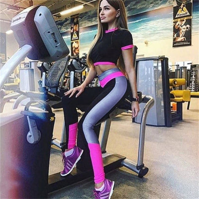 rose red- Long Pants + Short Sleeve Breathable sports bra Fitness Yoga Set