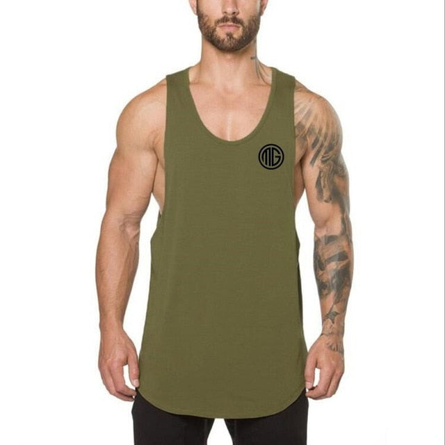 Bodybuilding stringer sleeveless tank top for men
