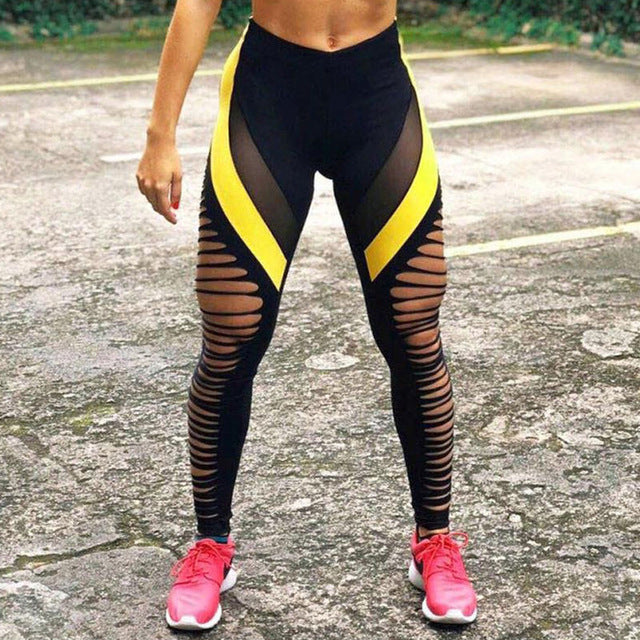 1-Hollow Women's Black & yellow push up workout leggings