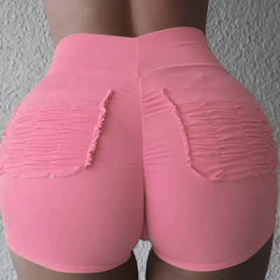 Women High Waist Pocket Push Up Shorts