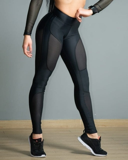 women's Black High Waisted High Mesh Capri Workout Leggings