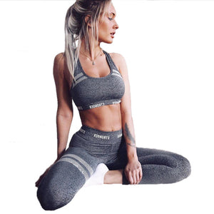 Women's Letter Printing Leggings And Crop Top Set