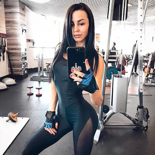 Women's black yoga jumpsuit mesh