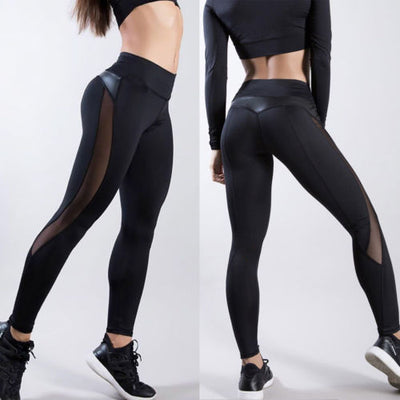 Breathable Compression High Waist Exercise Mesh Dry Quick Jogging Pants