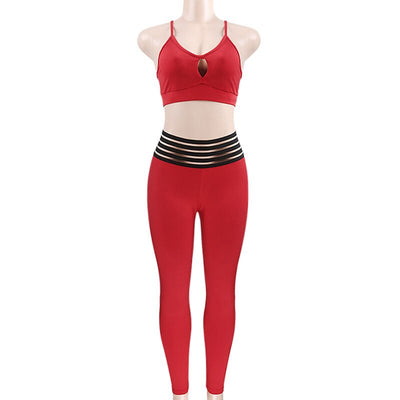 Red Women Bandage Crop Tops+Sexy Hip Push Up Leggings 2 Pieces