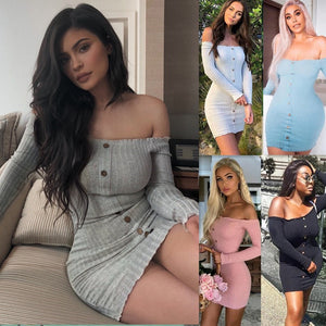 Women Off Shoulder Long Sleeve Sexy Slash Neck Bodycon Dresses