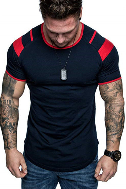 Whiite-Men's training short-sleeve Breathable Gym Fitness Workout Training Short sleeve Tee Tops