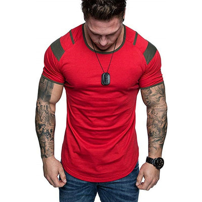 red-Men's training short-sleeve Breathable Gym Fitness Workout Training Short sleeve Tee Tops