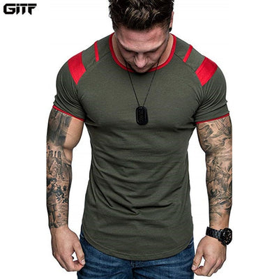 army green-Men's training short-sleeve Breathable Gym Fitness Workout Training Short sleeve Tee Tops