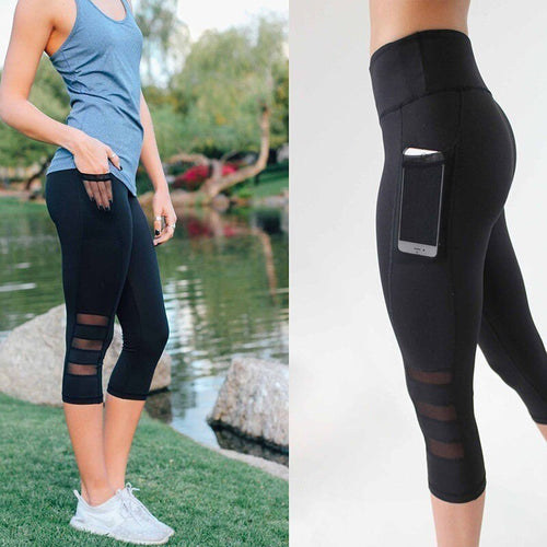 Mesh Energy Tights Solid Pocket Elastic Black Yoga Capri Pants