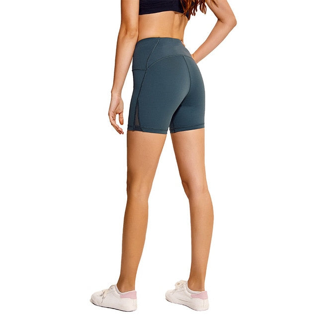 green-Women's high waisted Tummy Control Stretch Workout Shorts with Back Zipper Pocket